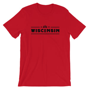 Red short sleeve unisex tee with 1848 Wisconsin design in black