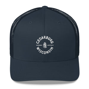 Navy Trucker Hat with Circle Cedarburg and tree design in white
