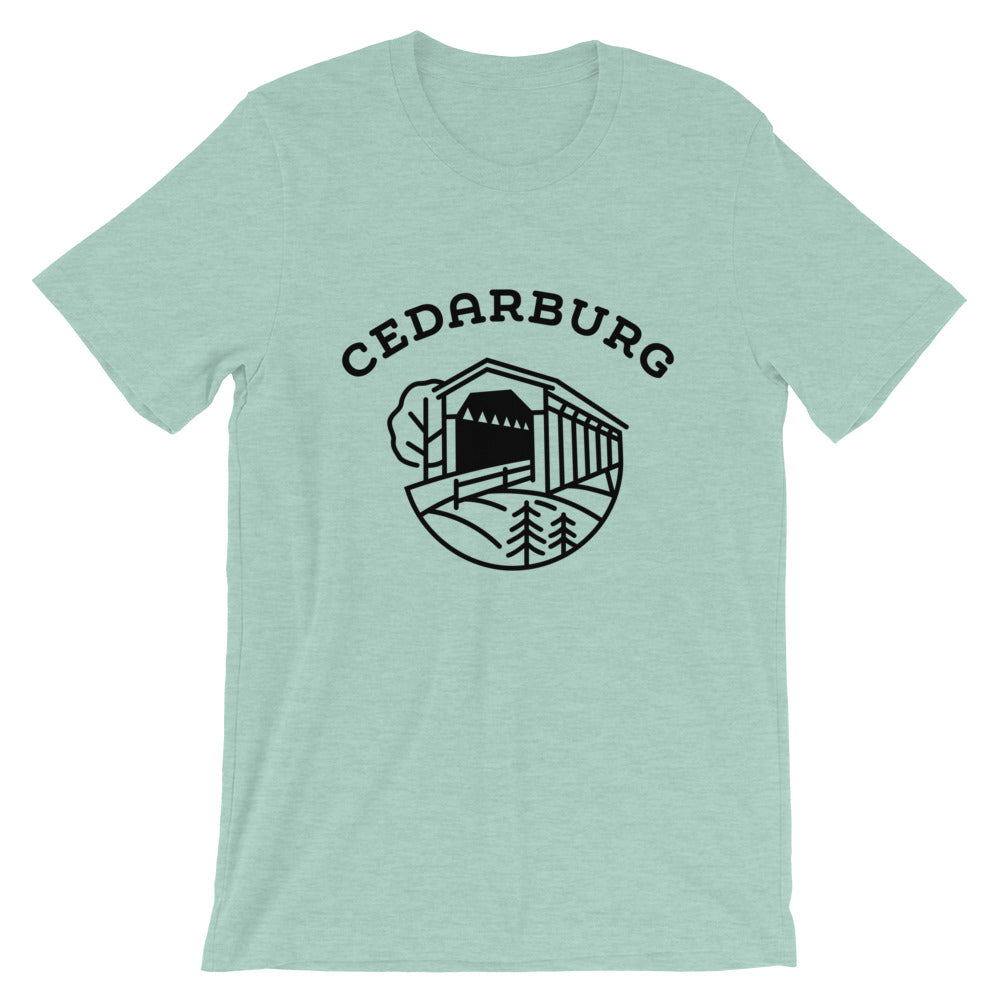 Covered Bridge Cedarburg t-shirt in heather prism dusty blue