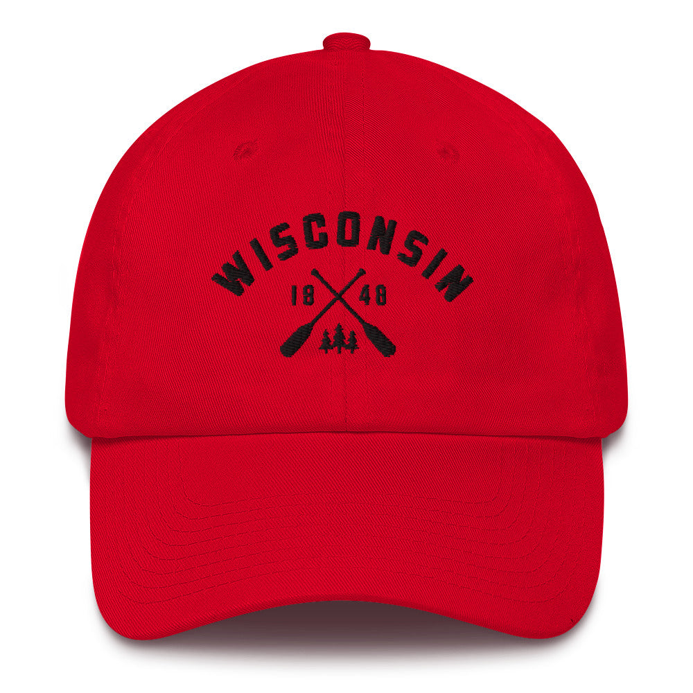 Red cotton baseball cap with Wisconsin paddle design in black