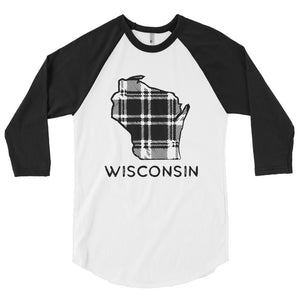 Wisconsin Plaid 3/4 sleeve raglan shirt | 2 shirt options - Black Design