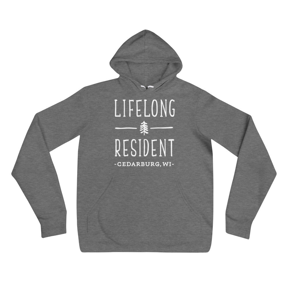 Deep Heather Hoodie with Lifelong Resident White Design