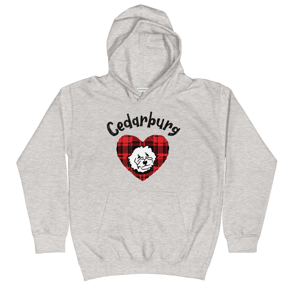 Kid's hoodie with plaid heart and dog with Cedarburg text on top