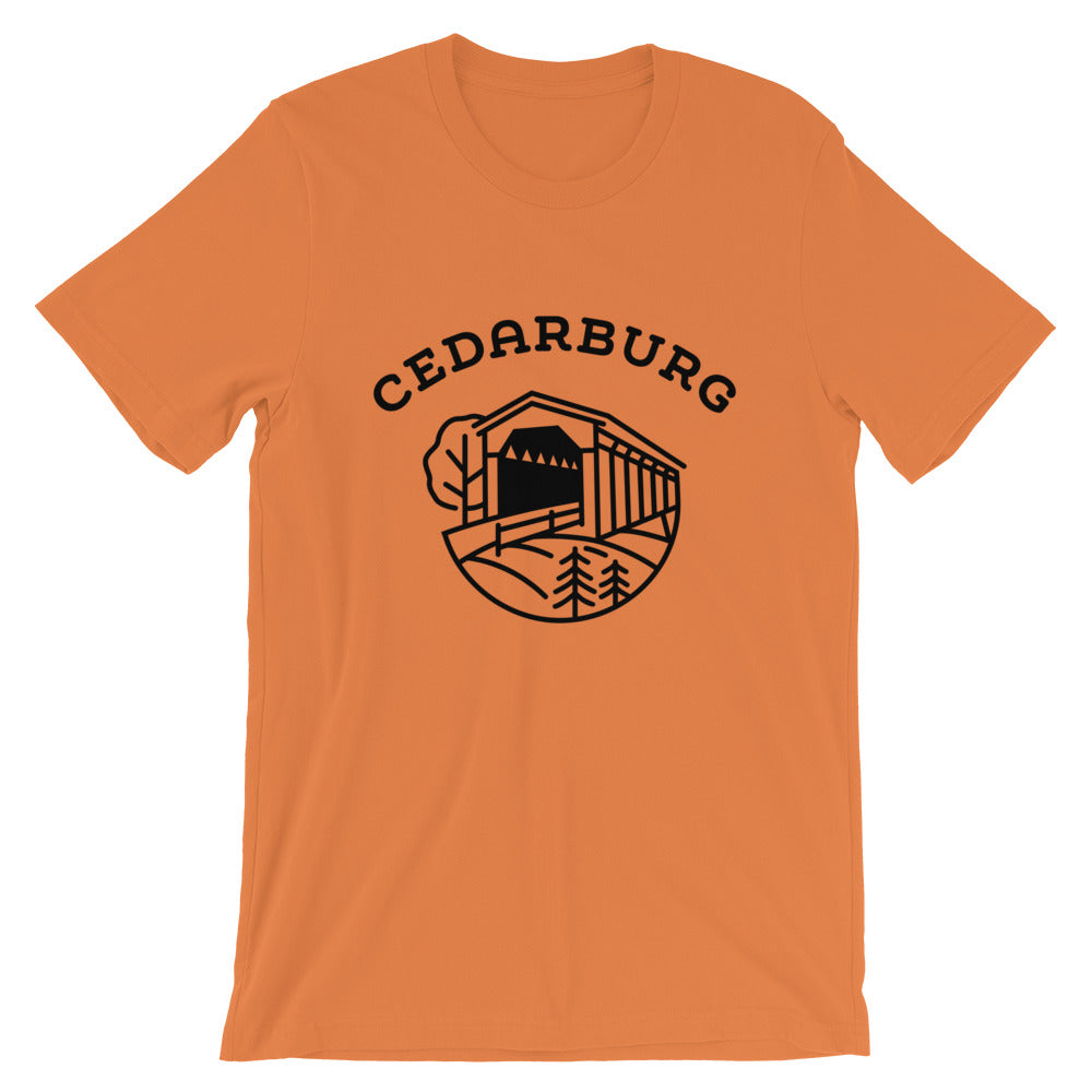 Covered Bridge Cedarburg t-shirt in burnt orange
