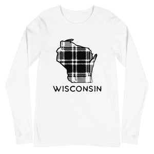 White long sleeve t-shirt with Wisconsin plaid design in black