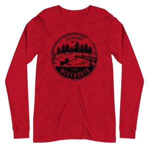 Red Unisex Long Sleeve Tee with Explore Wisconsin design in black