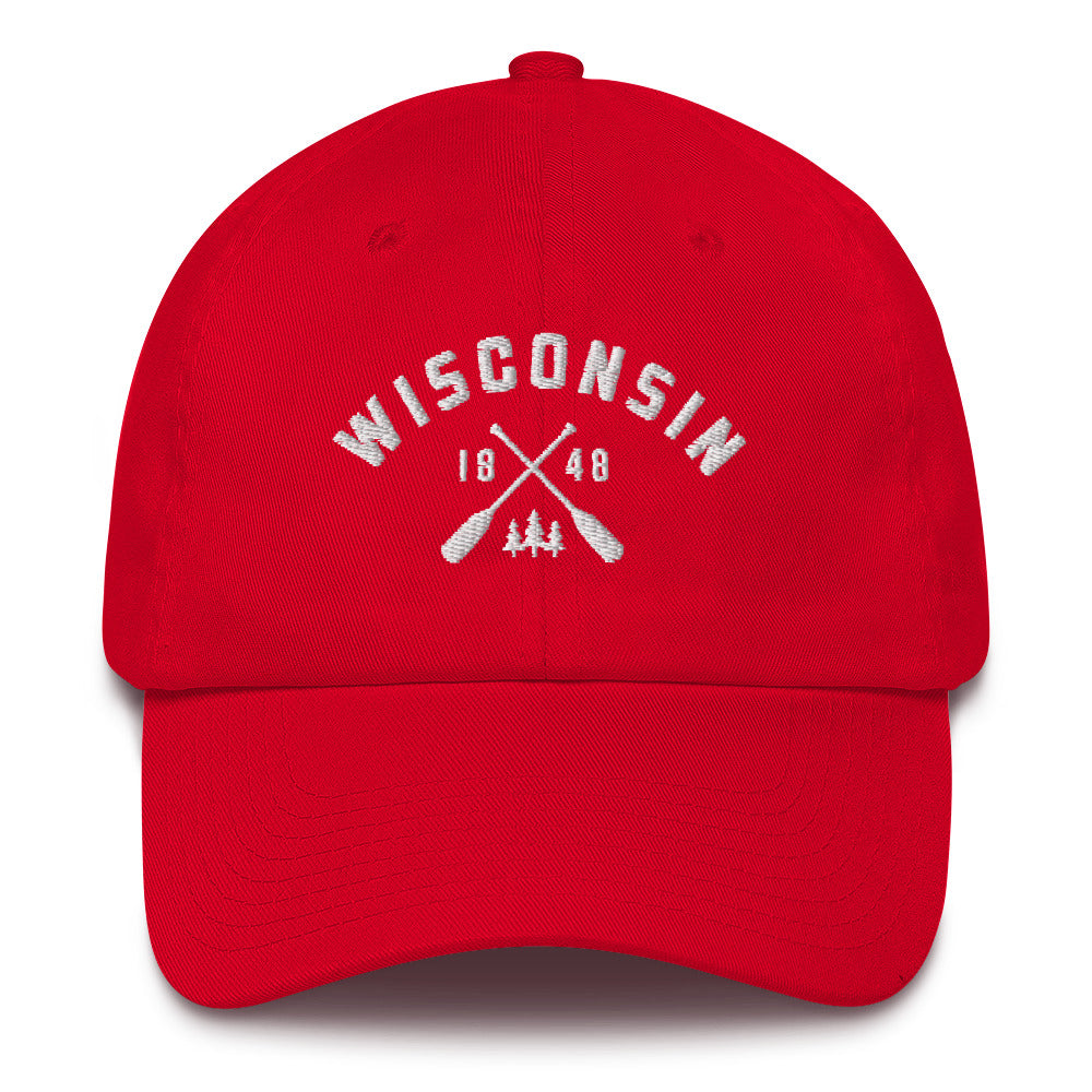 REd cotton baseball cap with Wisconsin paddle design in white