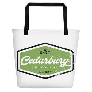 Vintage Cedarburg Logo Beach Bag - Green Design