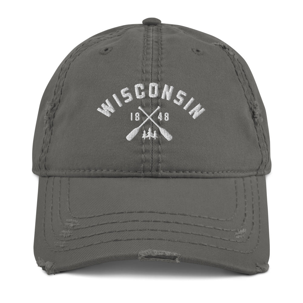 Wisconsin Paddle Distressed Dad Hat | 3 colors - White Design