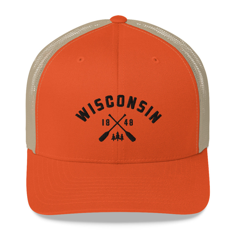 Wisconsin Paddle Trucker Cap | 5 colors - Black Design