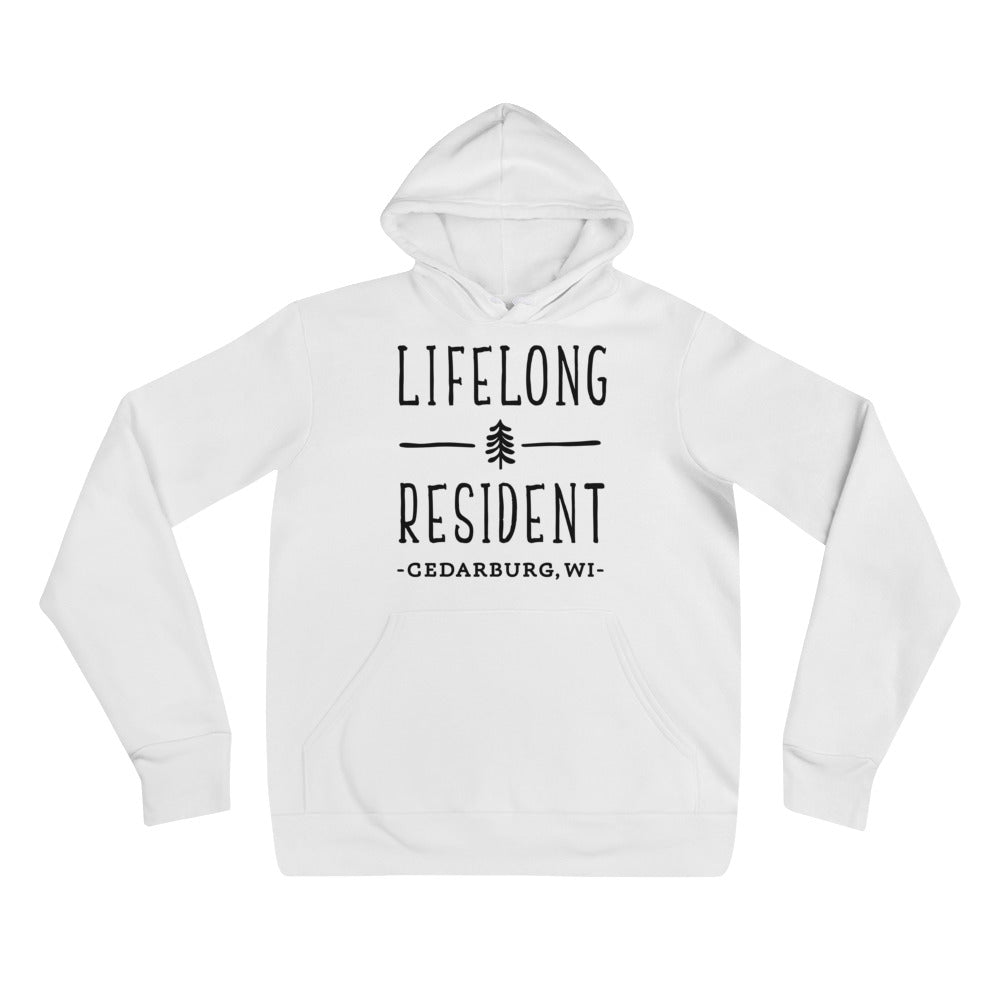 White Hoodie with black Lifelong Resident Design