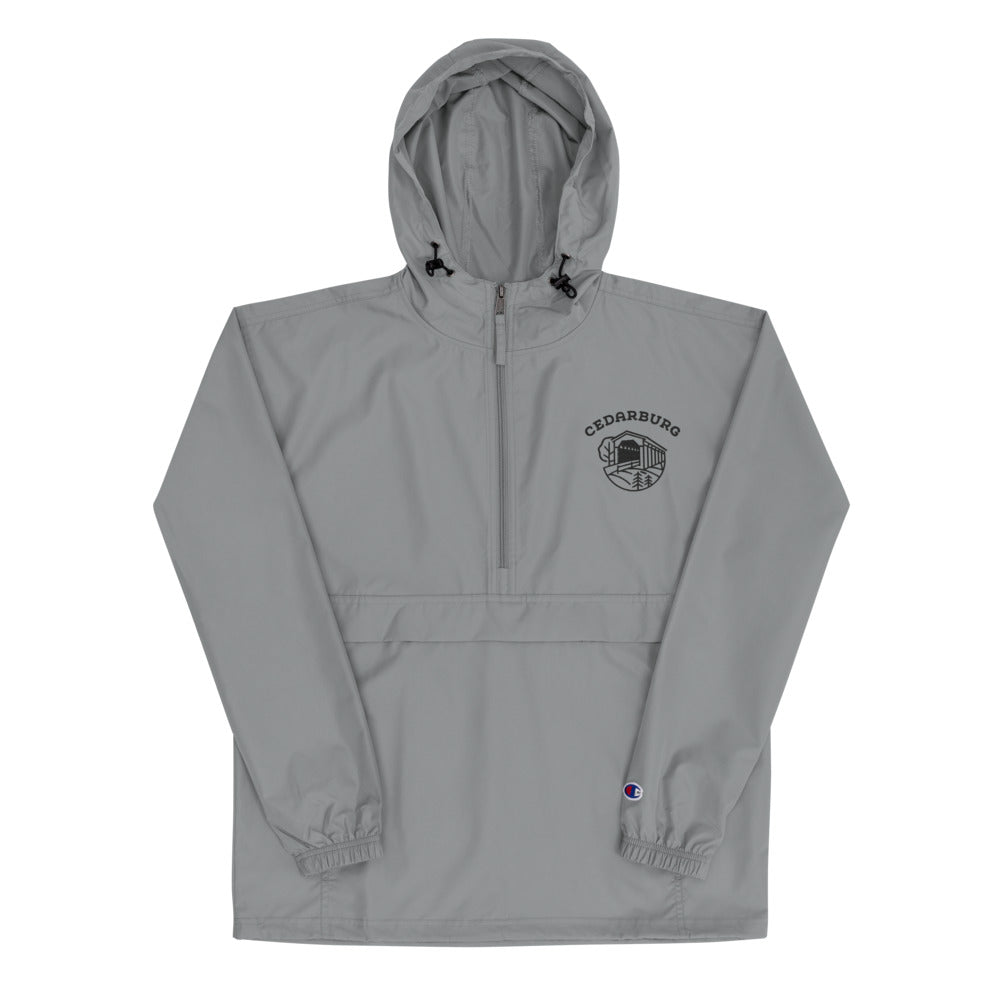 Grey Champion packable jacket  with black covered bridge design