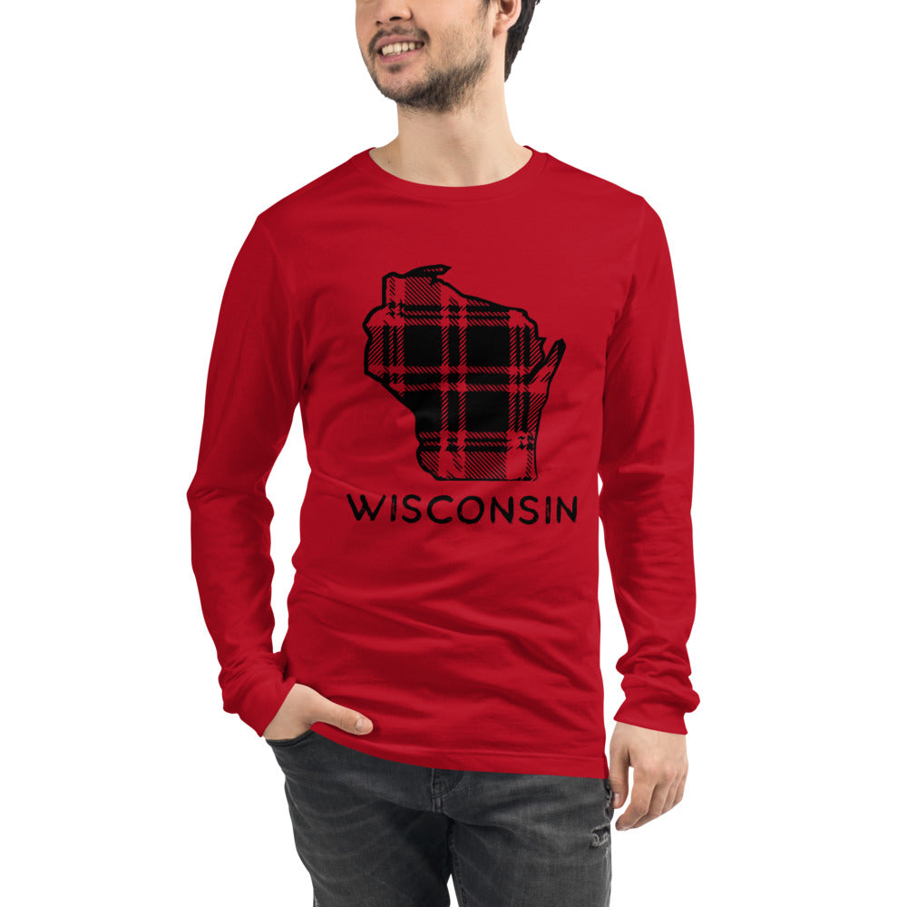Mock up of red long sleeve t-shirt with Wisconsin plaid design in black