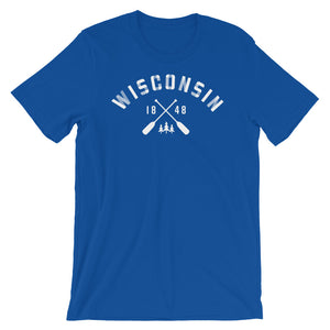 True Royal  unisex short sleeve tee with Wisconsin paddle design in white