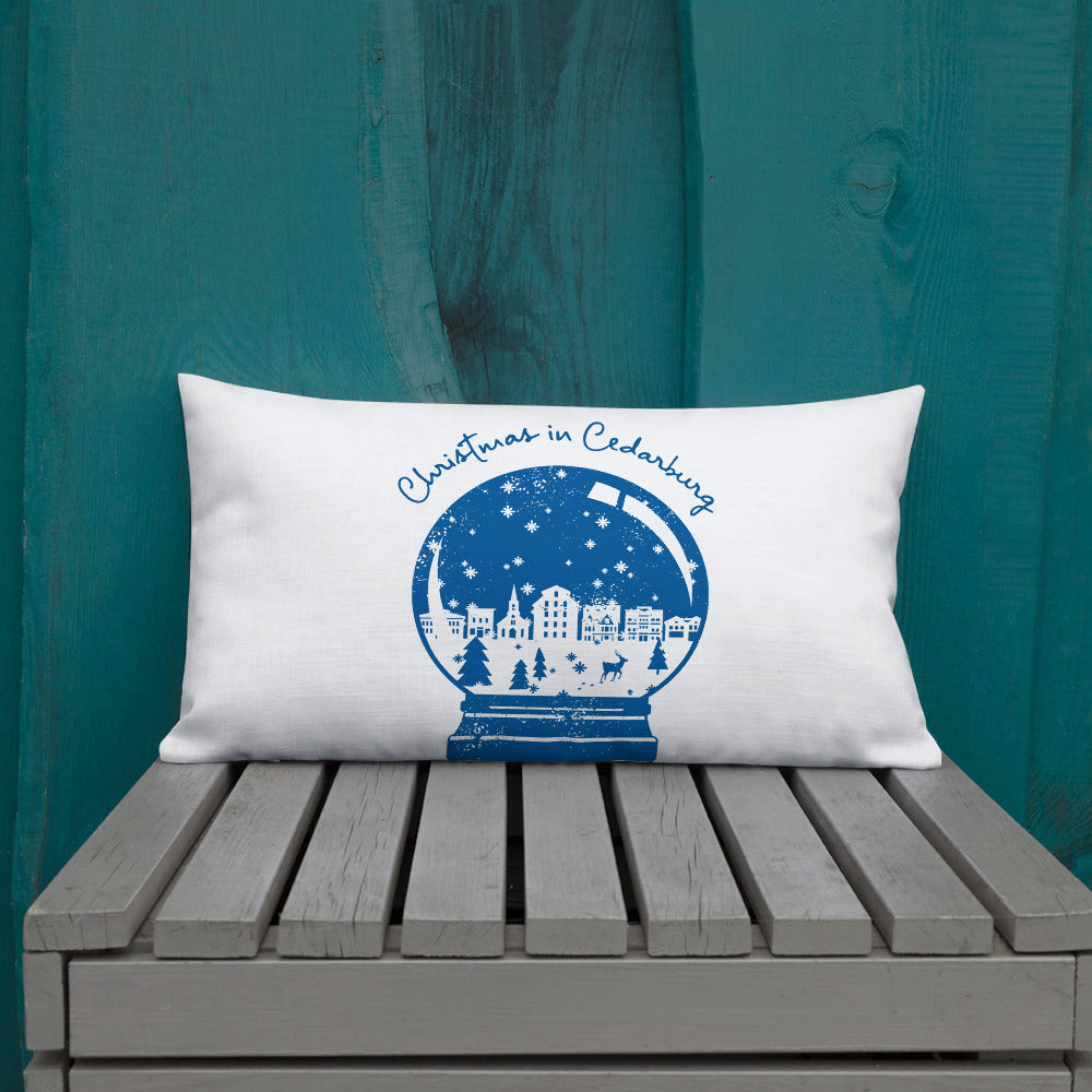 20 x 12 inch premium pillow with Snow Globe design in navy