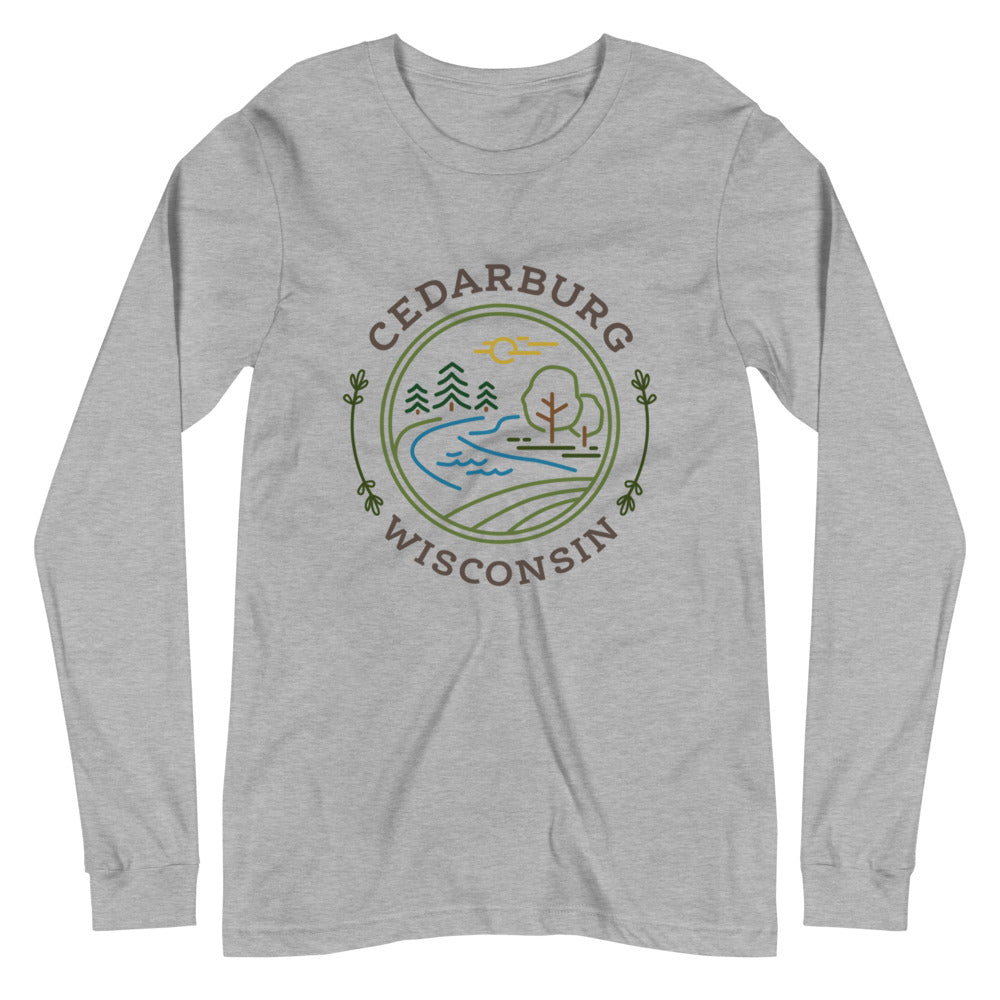 Athletic Heather Long Sleeve T-shirt with Nature Circle Cedarburg Design in color
