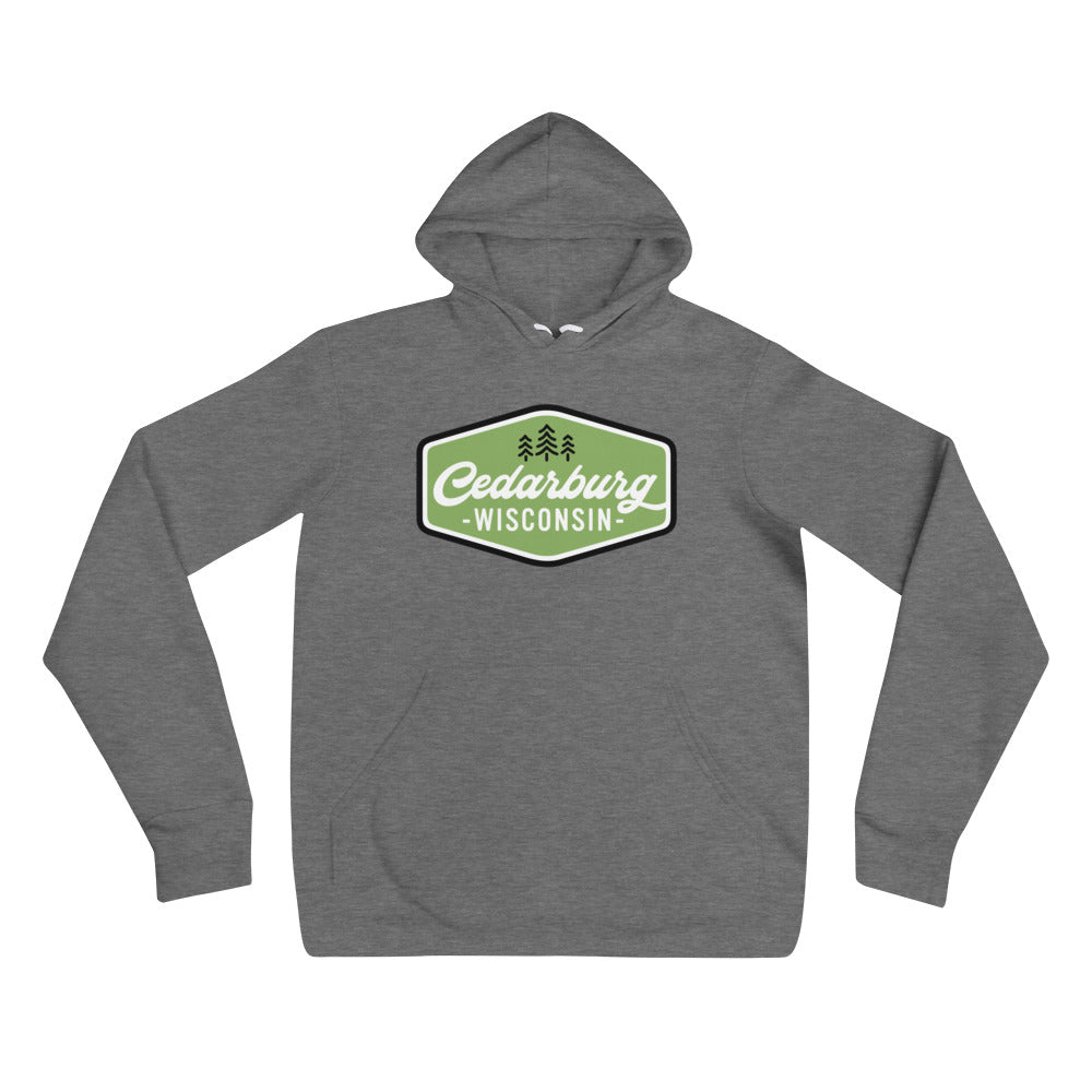 Deep Heather Hoodie with vintage green Cedarburg design