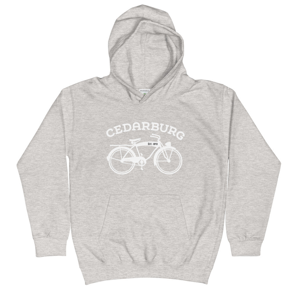 Heather Grey kids hoodie with white vintage Cedarburg bike design