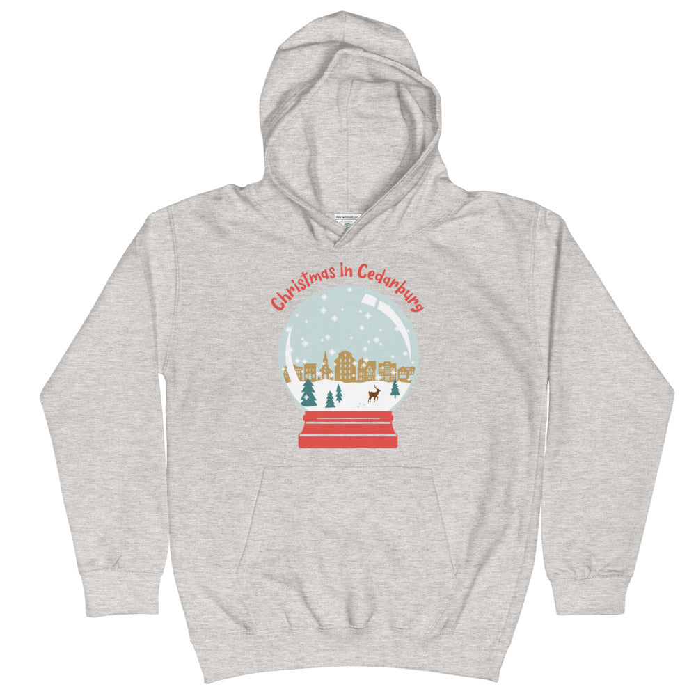 Heather Grey Kids Hoodie with snow globe Cedarburg design in color