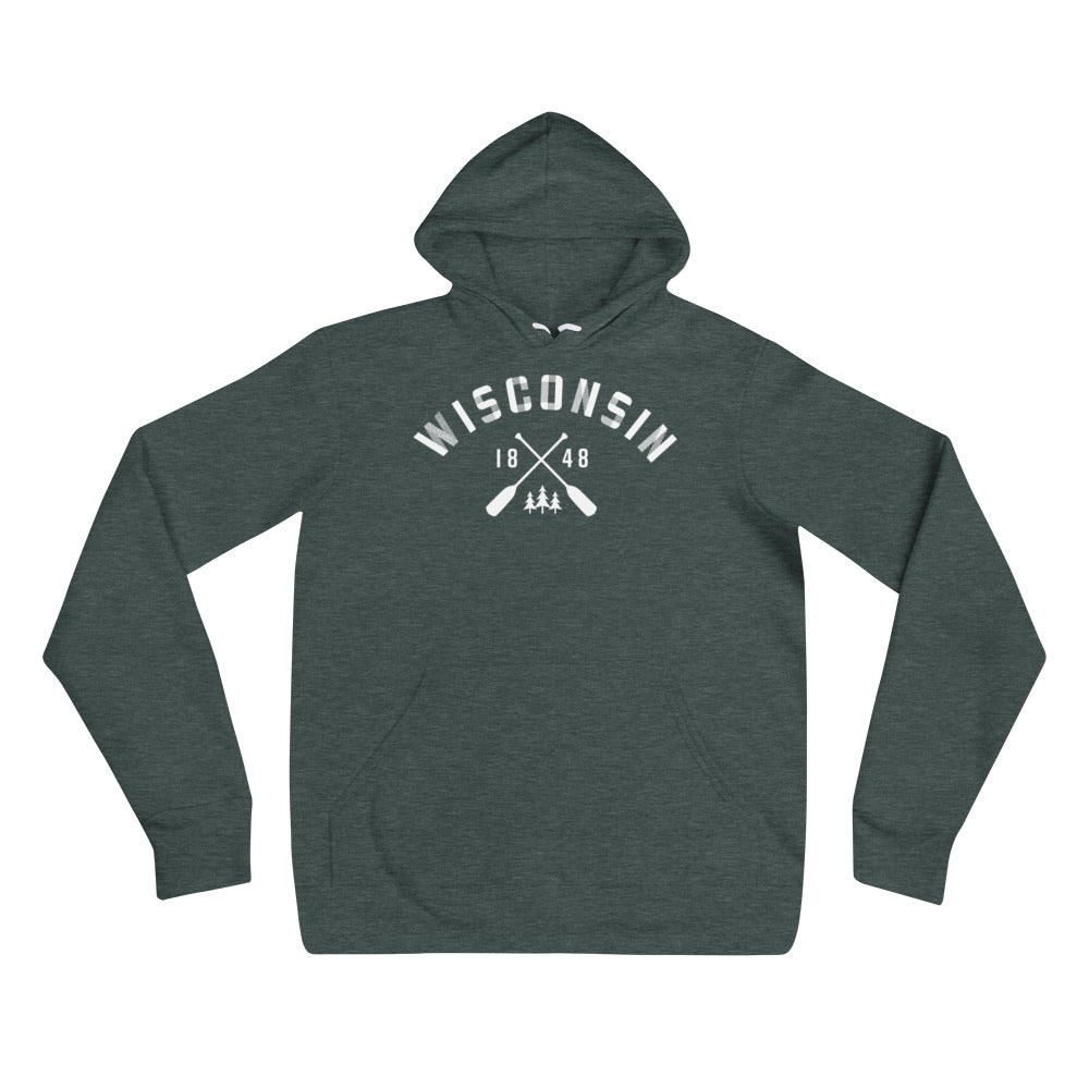 Heather Forest Unisex Hoodie with white Wisconsin Paddle Design