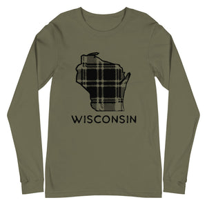 Military Green long sleeve t-shirt with Wisconsin plaid design in black