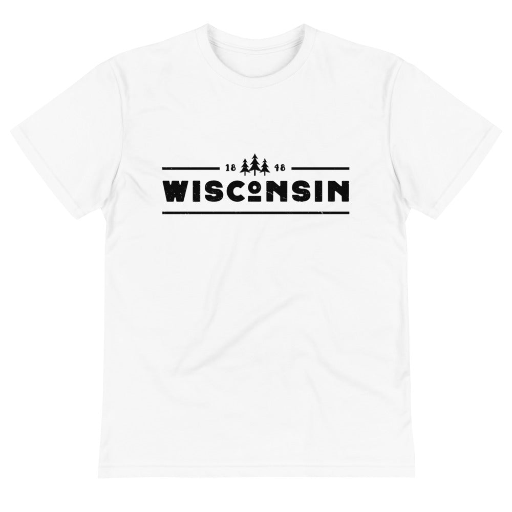 White sustainable short sleeve t-shirt with 1848 Wisconsin design in black