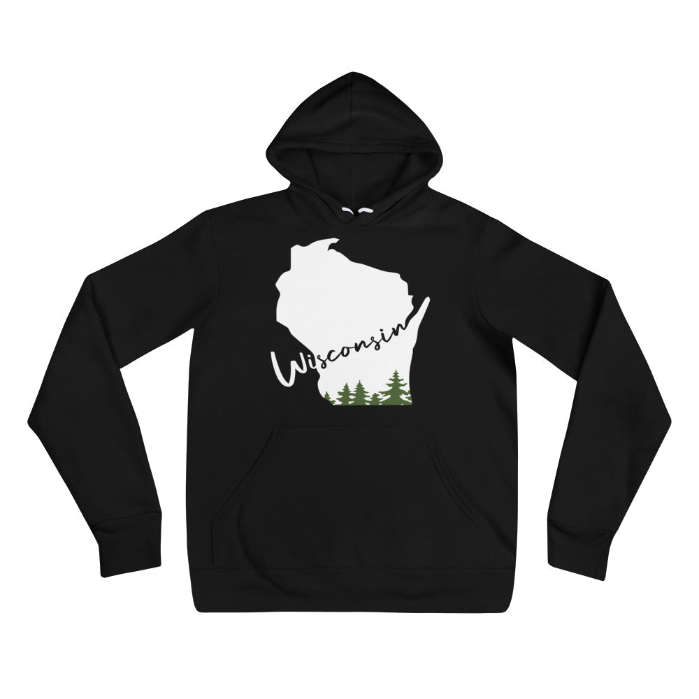 Black Unisex Hoodie with white Wisconsin Evergreen Script Design