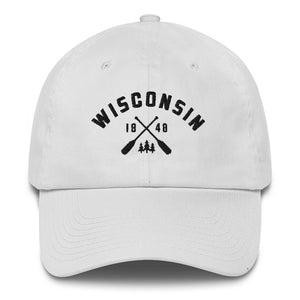 White cotton baseball cap with Wisconsin paddle design in black