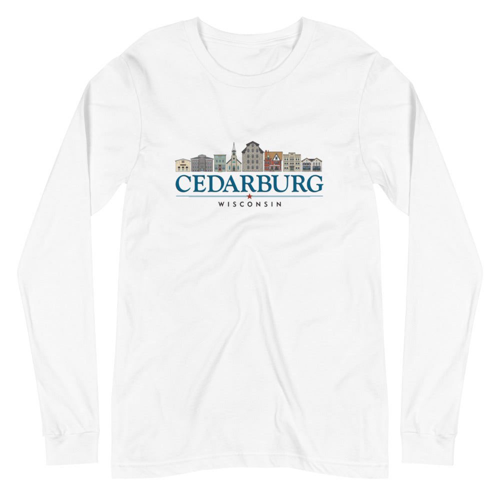 White long sleeve unisex t-shirt with downtown Cedarburg, Wisconsin design in color