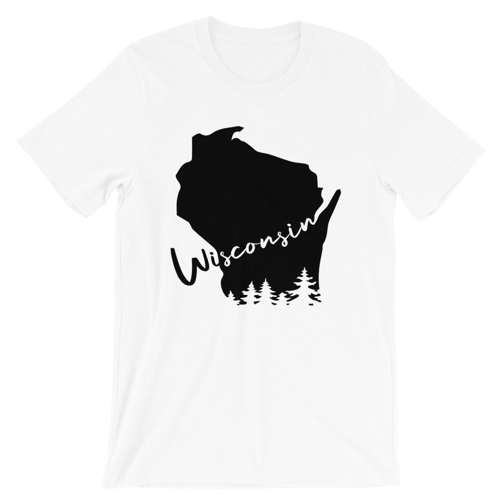 White unisex short sleeve tee with black design featuring Wisconsin outline and evergreen trees