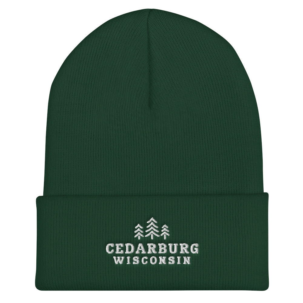 Spruce cuffed beanie with three tree Cedarburg, Wisconsin embroidered design in white
