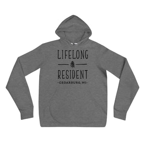 Deep Heather Hoodie with black Lifelong Resident Design