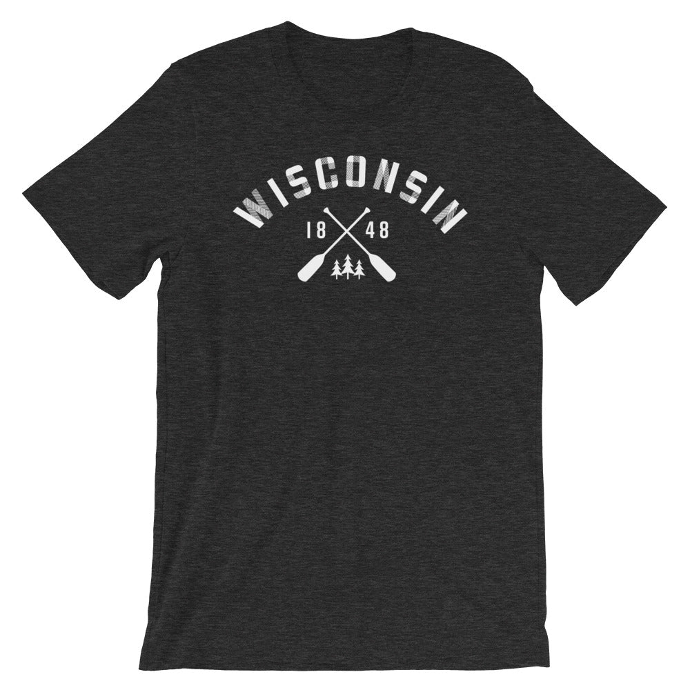Dark Grey Heather  unisex short sleeve tee with Wisconsin paddle design in white