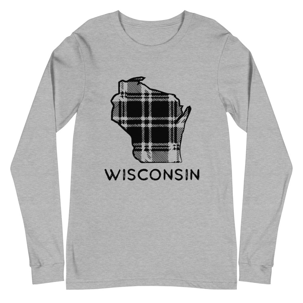 Athletic heather long sleeve t-shirt with Wisconsin plaid design in black