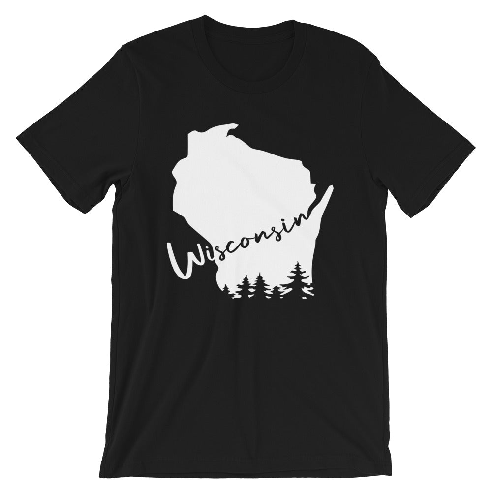 Black Unisex Tee with White Wisconsin design with evergreen trees and script Wisconsin
