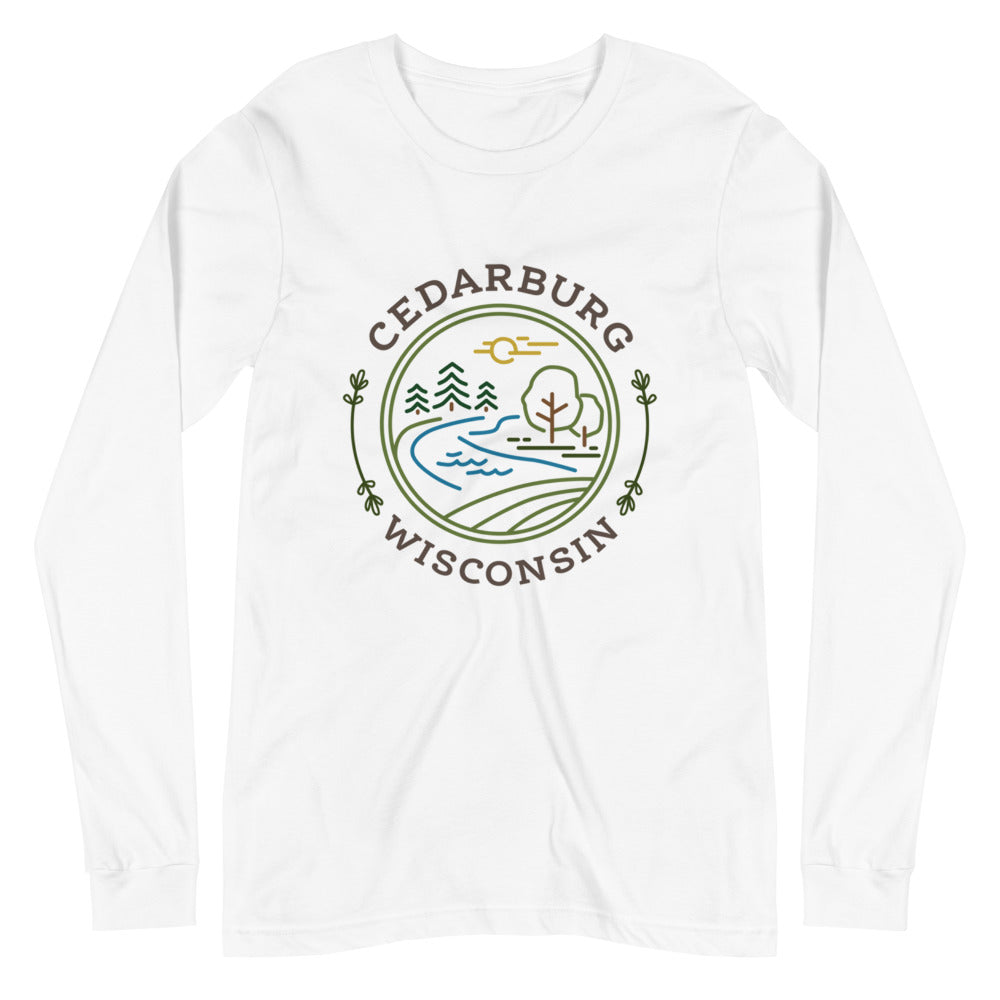 White Long Sleeve T-shirt with Nature Circle Cedarburg Design in color