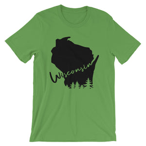 Leaf unisex short sleeve tee with black design featuring Wisconsin outline and evergreen trees