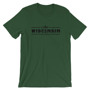 Forest short sleeve unisex tee with 1848 Wisconsin design in black