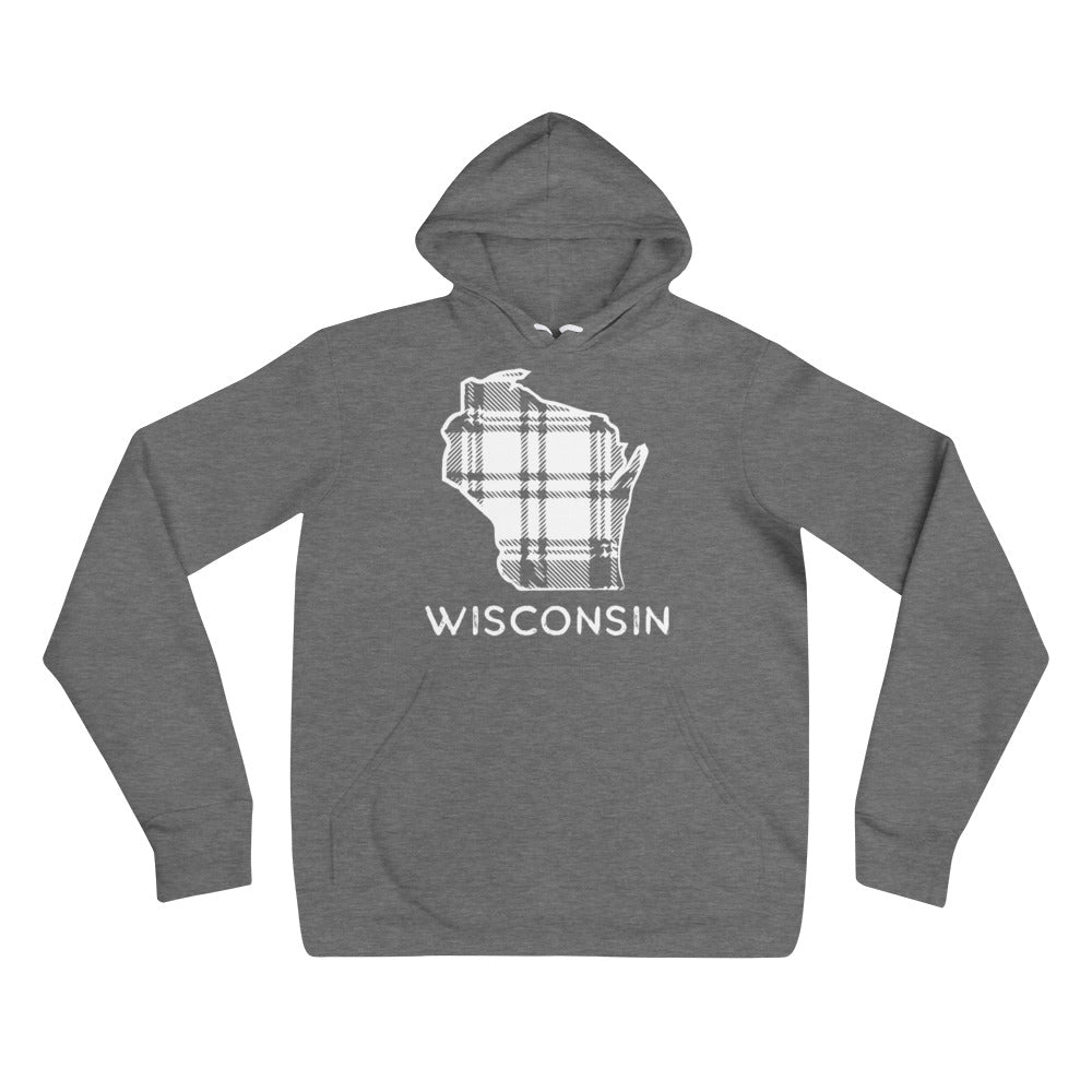 Deep Heather hoodie with white Wisconsin outline in plaid and Wisconsin printing