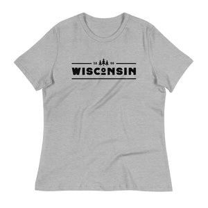 Athletic Heather women's relaxed fit t-shirt with black 1848 Wisconsin design