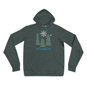 Heather Forest unisex hoodie with deep Green snowy Wisconsin design