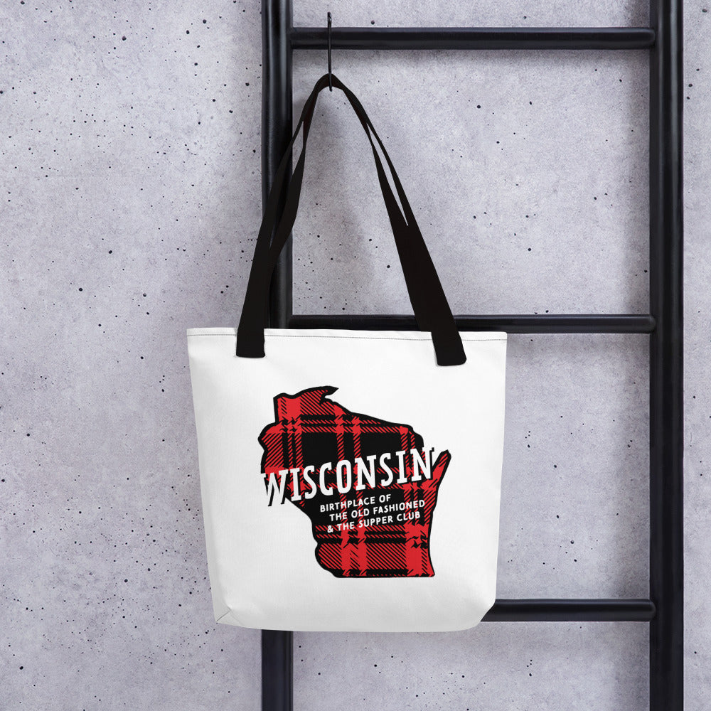 Black Handled Fabric Tote Bag with red plaid Wisconsin design and Old Fashioned and Supper Club printing