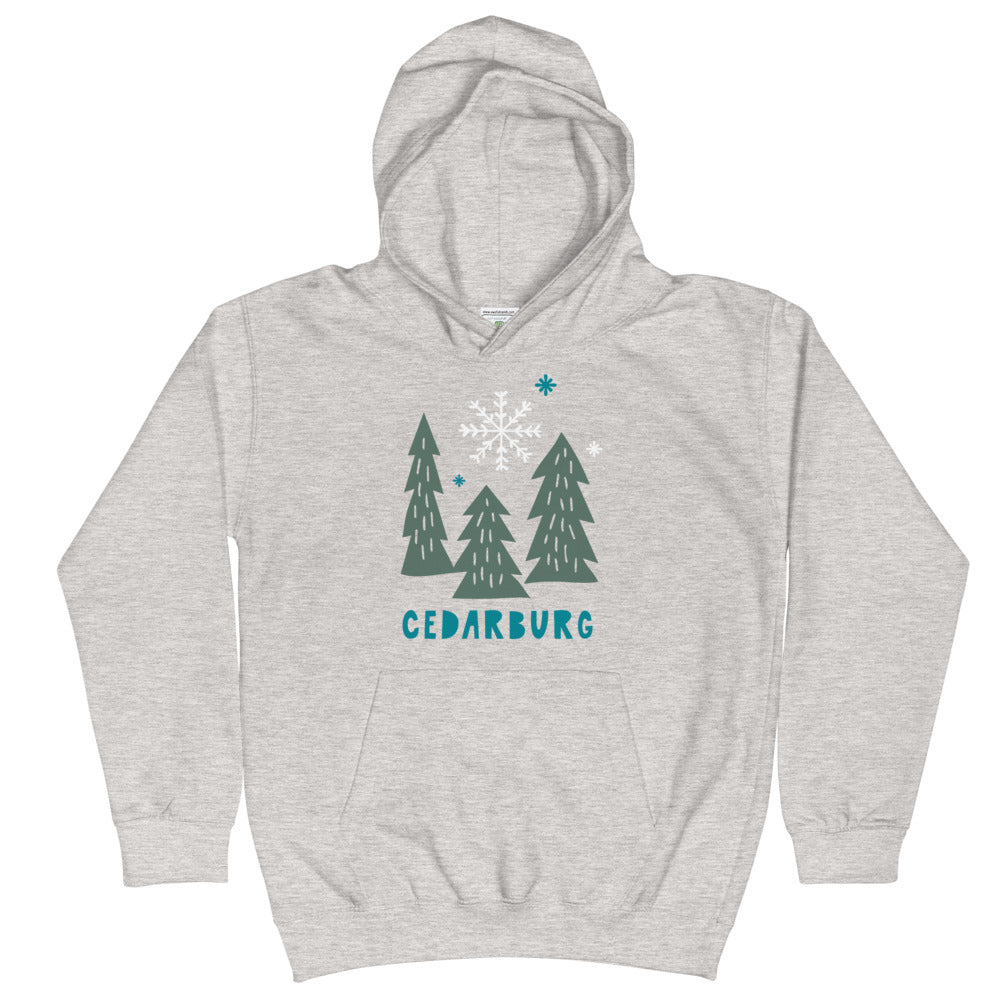 Heather Grey kids hoodie with Snowy Cedarburg trees