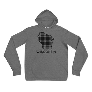 Deep Heather White unisex hoodie with black Wisconsin plaid image and Wisconsin writing