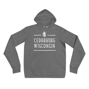Deep Heather Hoodie with Tree topped Cedarburg logo in white