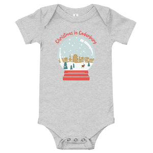 Athletic Heather short sleeve baby onesie with color Cedarburg snow globe design