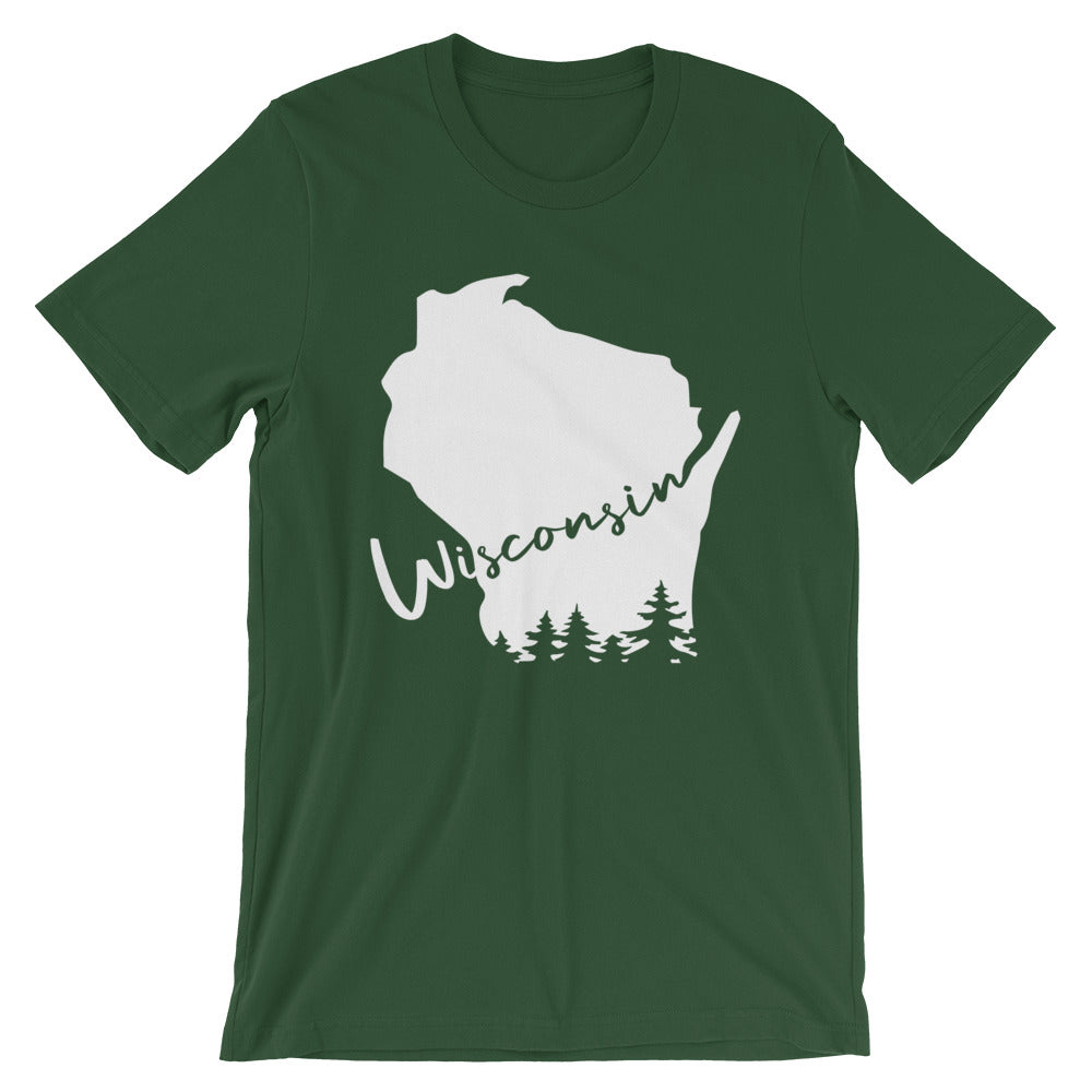 Forest Unisex Tee with White Wisconsin design with evergreen trees and script Wisconsin
