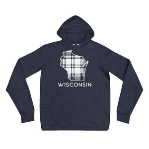 Heather Navy hoodie with white Wisconsin outline in plaid and Wisconsin printing