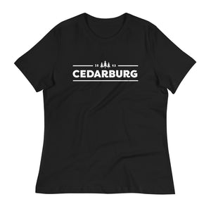 Black women's relaxed fit tee with white Cedarburg 1843 design