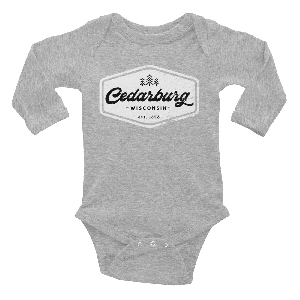 Heather Grey long sleeve baby onesie with white Vintage Cedarburg design